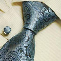 Amazon.com: blue Paisleys men ties dimgray pattern birthday gift mens accessories silk tie links set