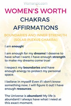 Affirmations are a powerful tool in balancing and working with your energy. Solar Plexus is the most important chakra when it comes to boundaries. Learn these affirmations to feel more confident and boost your self-worth. Chakra, Chakra Balancing, Root, Sacral, Solar Plexus, Heart, Throat, Third Eye, Crown, Chakra meaning, Chakra affirmation, Chakra Mantra, Chakra Energy, Energy, Chakra articles, Chakra Healing, Chakra Cleanse, Chakra Illustration, Chakra Base, Chakra Images.