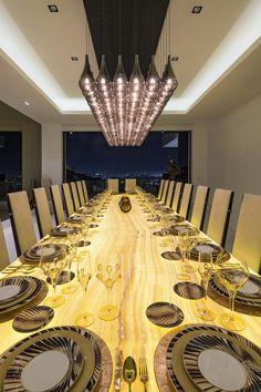 Backlit 22′ Honey Onyx Dining Room Table