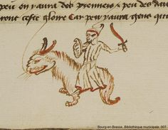 """Star Wars"":  I found a medieval drawing of a tauntaun from Hoth, ridden by a man with a lightsaber #MedievalStarWars"