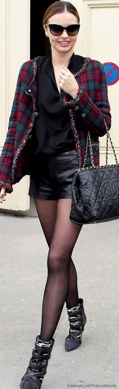 Street Style   Miranda Kerr in sexy leather shorts and stockings style staple <3