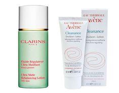 Cremas pieles grasas: 'Fluide Regulateur' de Clarins y emulsión hidratante seborreguladora de Avène
