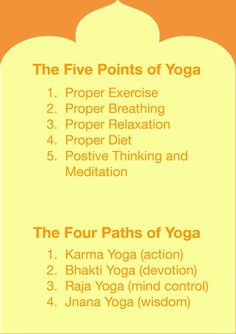Five Points of Yoga taught at Sivananda Ashram Yoga Ranch: http://www.sivanandayogaranch.org/