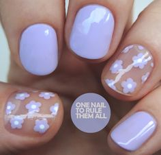 Nail To Rule Them All: Lilac Negative Space Flowers , . One Nail To Rule Them All: Lilac Negative Space Flowers , One Nail To Rule Them All: Lilac Negative Space Flowers , Cute Nail Art, Cute Nails, Pretty Nails, My Nails, Daisy Nail Art, Pastel Nail Art, Daisy Nails, Minimalist Nails, Blue Nail