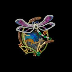 Master Exclusive Jewelry, Collection: World of Insects, Multi-Gem & Opal Dragonfly Brooch