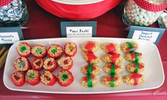 Pretend sushi - brilliant!!  Made with Rice Crispie treats, assorted gummy candies, fruit roll-ups and Fruit-By-The-Foot.