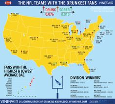 538 markets where the dallas cowboys were the most or second most ranked the teams with the drunkest fans in the nfl map sciox Choice Image