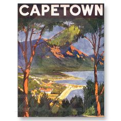 Vintage Travel Poster, Cape Town, Africa Postcard from Zazzle.com