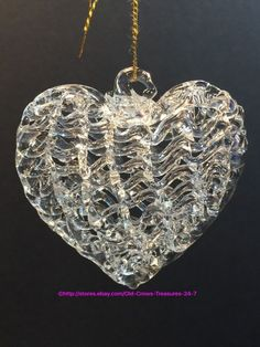 T hree beautiful hand-blown, woven, ripple, spun glass heart ornaments. Ornaments are in excellent preowned condition. | eBay!