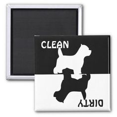 Dirty Clean Westie dog dishwasher magnet, gift idea for west highland white terrier dog lovers