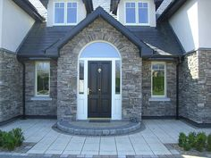 Exterior Stone Wall Design Porches 46 Ideas For 2019 Exterior Wall Cladding, Exterior Front Doors, House With Porch, House Front, Porch Uk, Stone Porches, Brick Steps, Door Steps, Stone Wall Design