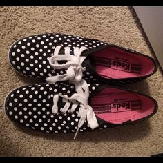 B&W Polka Dot Keds - Size 6 Worn one time! Practically brand spanking new! keds Shoes Sneakers