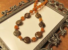 Snakeskin Agate and Red Aventurine Necklace by RomanticThoughts
