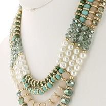 Green and mint crystal and bead necklace. 15 inch/ EXT - 3 inch