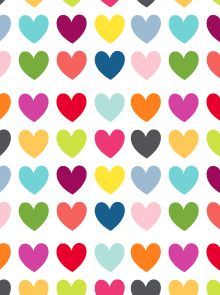Multi Colored And Big Hearts Patterned Scrapbook Paper By Mr
