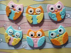 Owl cupcake toppers by MyCakeFairyDotCom