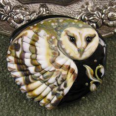 BONUS WEEK NEW Kerribeads Lampwork Barn Owl Focal by kerribeads
