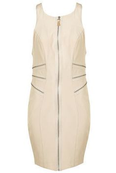 TOPSHOP Limited Collection Cream Zip Racer Back Dress