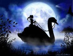 """Swan Princess"" Fairy Art and Silhouette by Liza Lambertini"