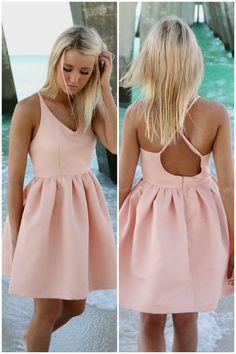 Feeling Flirty Pink Babydoll Criss Cross Back Party Dress