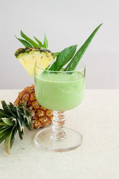 Pineapple/ Aloe vera Smoothie - 1 cup spinach ¼ cup fresh mint 1 cup pineapple, frozen 2 tablespoons aloe vera juice, or a 2 inch fillet straight from the plant 2 teaspoons honey ½ inch fresh ginger, peeled and minced ¼ teaspoon tumeric powder 1 lime, peeled ¾ cup coconut water For the gel go to www.ourbodyforever.com