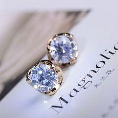 Rhinestone Bud Gold Flower Earrings | LilyFair Jewelry