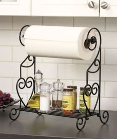 New   Black Metal Decorative Paper Towel Rack Holder With Shelf