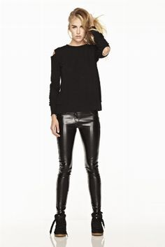 2bbd0462 CUT OUT SWEATER - LNA Pvc Trousers, Leather Trousers, Leather Leggings,  Grey Fashion