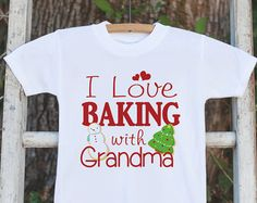 Kids Christmas Outfit - I Love Baking With Grandma Onepiece or Tshirt - Christmas Shirt for Baby Boy or Girl - Grandchild Christmas Outfit