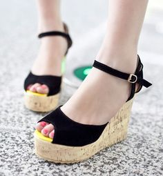 9b8362514a22 Elegant Buckle High Platform Peep-T. Womens Shoes ...