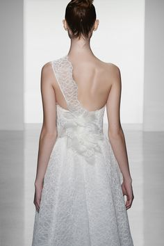 "Amsale ""Skylar"" corded lace one shoulder gown with silk organza flower detail at back"
