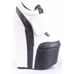 Black white contrast nu buck velcro snap platform wedge sneaker... ($28) ❤ liked on Polyvore featuring shoes, sneakers, blackwhite, black and white platform sneakers, velcro sneakers, wedge trainers, black and white wedge sneakers and platform sneakers