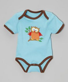 This Turquoise & Brown Kooky Owl Bodysuit - Infant by am pm kids! is perfect! #zulilyfinds