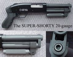 """SERBU SUPER-SHORTY       Based on a Mossberg Maverick (also available on 500 or Remington 870) 12-gauge shotgun.  One of (if not the) shortest 12-gauge available.  Spring-locked foregrip pivots out of the way when not in use.  Used by various law enforcement agencies & military units worldwide.  Specs: Overall Length: 16.5""""     Barrel Length: 6.5""""     Caliber: 12 or 20 ga     Capacity:  2 + 1 (2-3/4"""" or 3"""")     Finish: MIL-Spec     Price: $675  Deluxe version w/ front sight & sling swivels…"""
