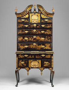 Japanning, the use of paint and gilded gesso to imitate the glossy finish on Asian lacquerwork, was a popular method of furniture decoration in colonial Boston. This group of japanned furniture (40.37
