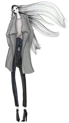 Diseño de ropa pintada a mano, ilustración de moda.  por: AISS GRIMM un Nueva York el diseñador de moda e ilustrador