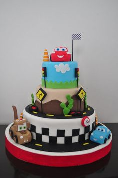 Disney Cars Cake- far beyond my talent but love the sides of the cakes Disney Cars Cake, Disney Themed Cakes, Disney Cars Birthday, Cars Birthday Parties, Disney Cakes, Birthday Cake, Gateau Flash Mcqueen, Cupcakes, Cupcake Cakes