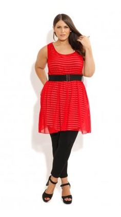 City Chic plus size red belted tunic 2013
