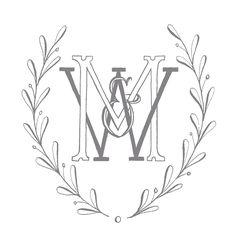 Custom monogram and wreath. Follow @rkcalligraphy on Instagram.