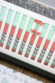 Minty | Modified Tot, Mint and Salmon Crib Bedding, Gender Neutral Baby Bedding, Arrows, Triangles, Chevron