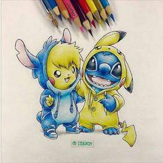art, cartoon, drawing, lilo and stitch, movie, pikachu, pokemon, stitch