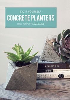 Easy and inexpensive DIY geometric concrete planters made from a cardboard mold. (Free Template Available)