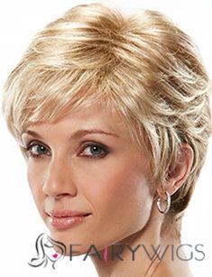 Stylish Short Straight Blonde 8 Inch Human Hair Wigs