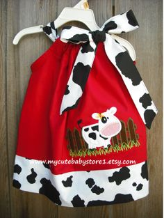 Red Old McDonald Farm Custom Pillowcase dress by mycutebabystore1, $28.50