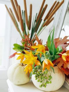 Use pumpkins as vases in this easy to recreate centerpiece: http://www.bhg.com/decorating/seasonal/fall/pretty-pumpkins-for-fall/?socsrc=bhgpin091714floralsplendor&page=14