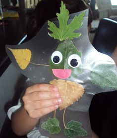 """Use contact paper and leaves to make a super cute """"leaf person"""" !"""