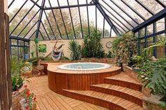 Indoor Garden Sunroom (of course with jacuzzi!- Indoor Garden Sunroom (of course with hot tub! Jacuzzi Room, Indoor Jacuzzi, Indoor Pools, Backyard Pools, Pool Decks, Pool Landscaping, Garden Pool, Tropical Garden, Orangerie Extension