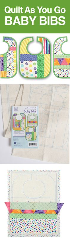Quilt as you sew for easy baby bibs. Preprinted batting in three designs allows you to create unique and colorful bibs. Nancy's Notions | Baby Bibs