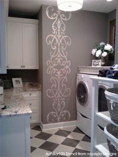 Modello Designs Masking Stencil on Laundry Room Wall | Artist: My Sister & I