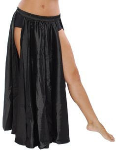 Satin Panel Circle Skirt for Belly Dancing in Black